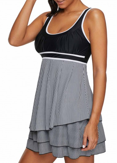 Rosewe Women Swimdress Black Striped Wide Strap Swimsuit Contrast Piping Layered Scoop Back Swimdress and Shorts - XXL