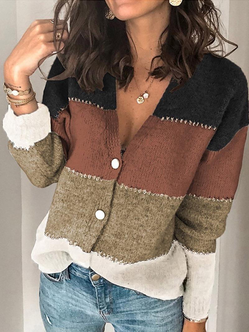 Ericdress Single-Breasted Thin Regular V-Neck Long Sleeve Sweater