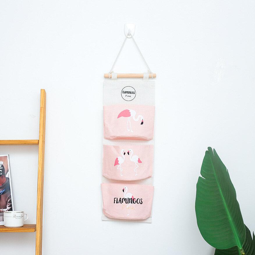 Flamingo Series Hanging Bag Home Bathroom Kitchen Semi-circle Three-pocket Storage Bag