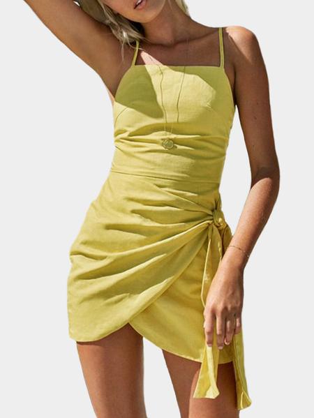 Yoins Yellow Cami Straps Lace-up Design Slit Hem Dress