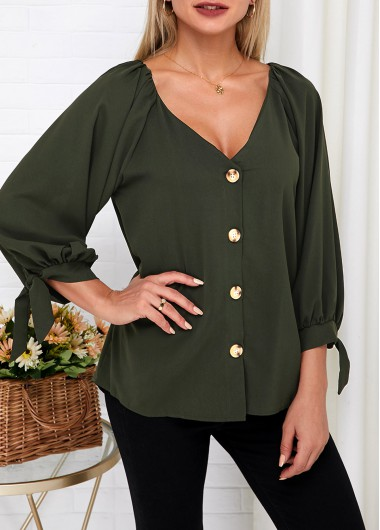 V Neck Knotted Cuff Button Up Blouse - L