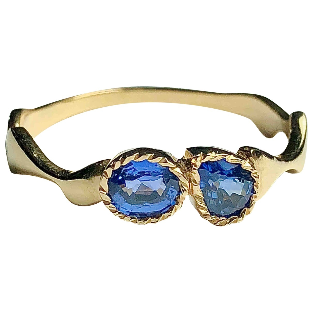 Non Signé / Unsigned Saphir Blue Yellow gold ring for Women 7 ½ US