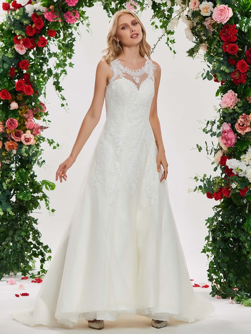Ericdress Round Neck A Line Appliques Wedding Dress
