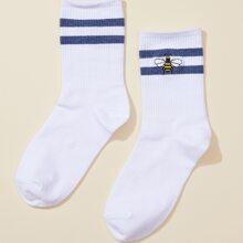 Bee Embroidery Socks