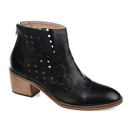 Journee Signature Womens Ulima Booties Stacked Heel, 7 1/2 Medium, Black