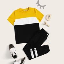 Boys Cut And Sew Top & Striped Sweatpants Set