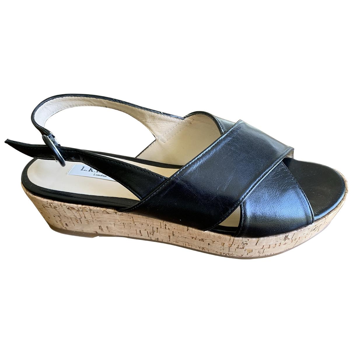 Lk Bennett \N Black Leather Sandals for Women 39 EU