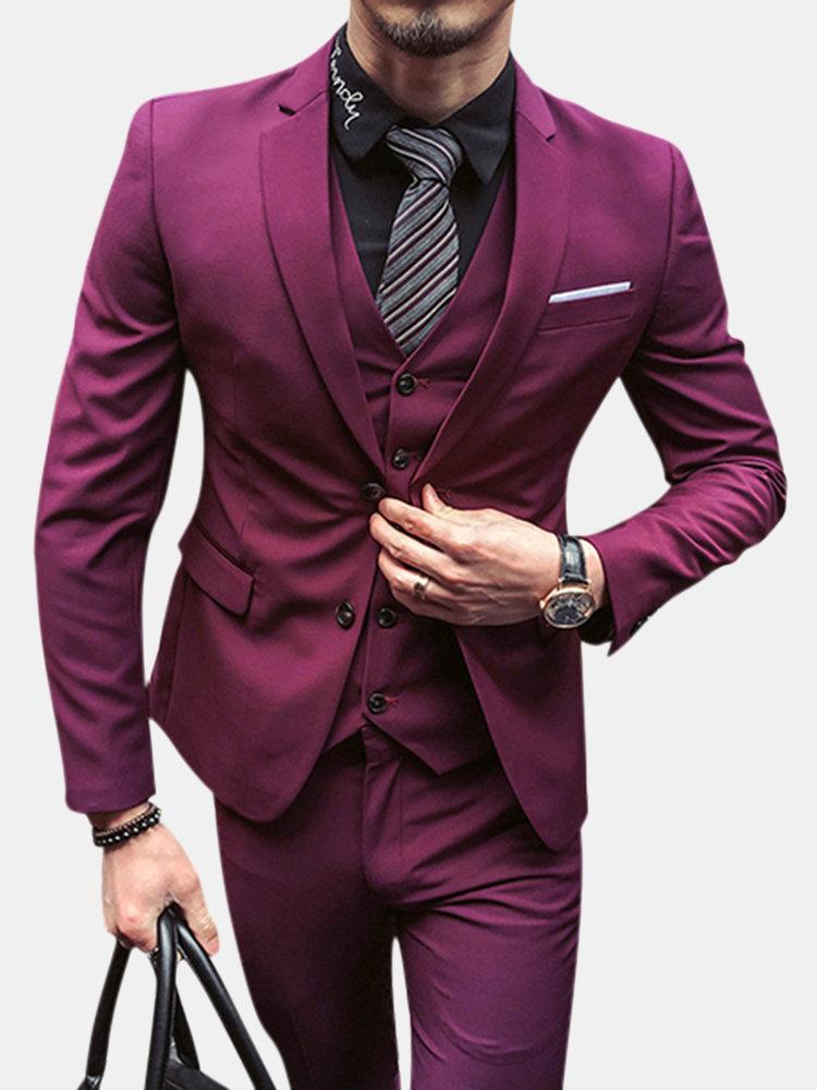 Three Pieces Solid Color Slim Fit Blazer Suit for Men