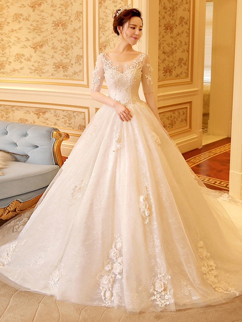 Ericdress Scoop Neck Appliques Ball Gown Wedding Dress With Sleeves