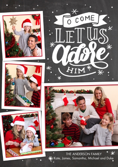 Christmas Photo Cards Flat Glossy Photo Paper Cards with Envelopes, 5x7, Card & Stationery -Christmas Adore Him Hand Lettered by Tumbalina