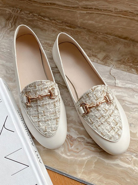Milanoo White PU Leather Loafers Round Toe Metal Details Casual Shoes Women\'s Shoes
