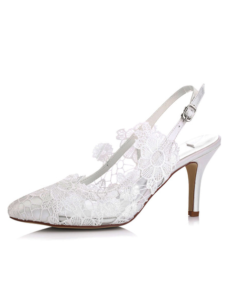 Milanoo Lace Wedding Shoes Kitten Heel Pointed Toe Flower Satin Bridal Shoes