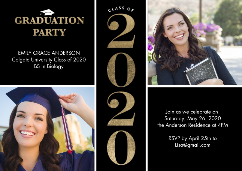 2020 Graduation Invitations Flat Glossy Photo Paper Cards with Envelopes, 5x7, Card & Stationery -2020 Grad Party Type by Tumbalina