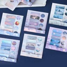 1pack Scenery Pattern Random Sticky Note