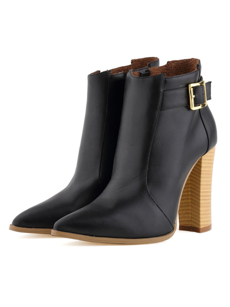Milanoo High Heel Booties Black Pointed Toe Buckle Detail Ankle Boots For Women