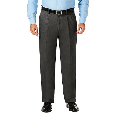 JM Haggar Classic Fit Pleated Dress Pant - Big and Tall, 60 32, Gray