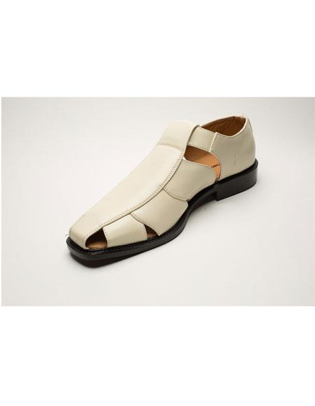Men's Two Toned Cream Casual Leather Sandal