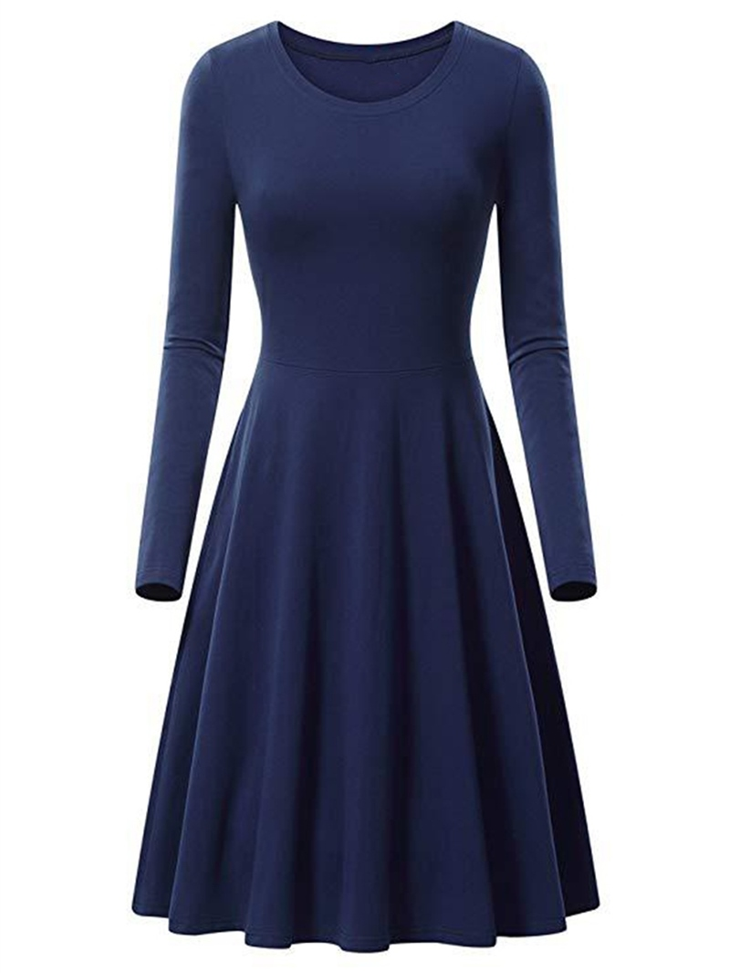 Ericdress A-Line Long Sleeve Mid-Calf Round Neck High Waist Regular Dress