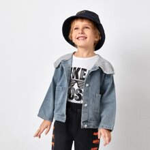 Toddler Boys Dual Pockets Contrast Hooded Denim Jackets