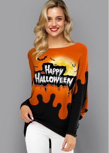 Long Sleeve Halloween Print Contrast Sweatshirt - XS