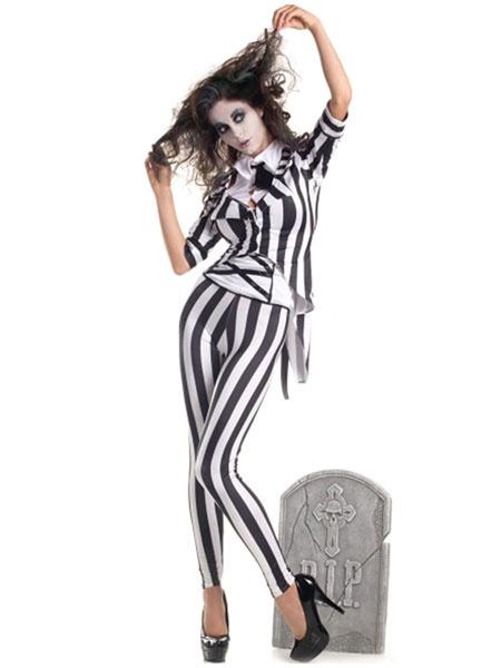 Milanoo Magician Costume Halloween Women Vampire Striped Outfit