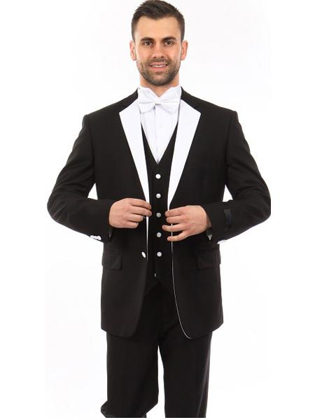 Mens 3 Piece Single Breasted Slim Fit Notch Lapel Black Tuxedo
