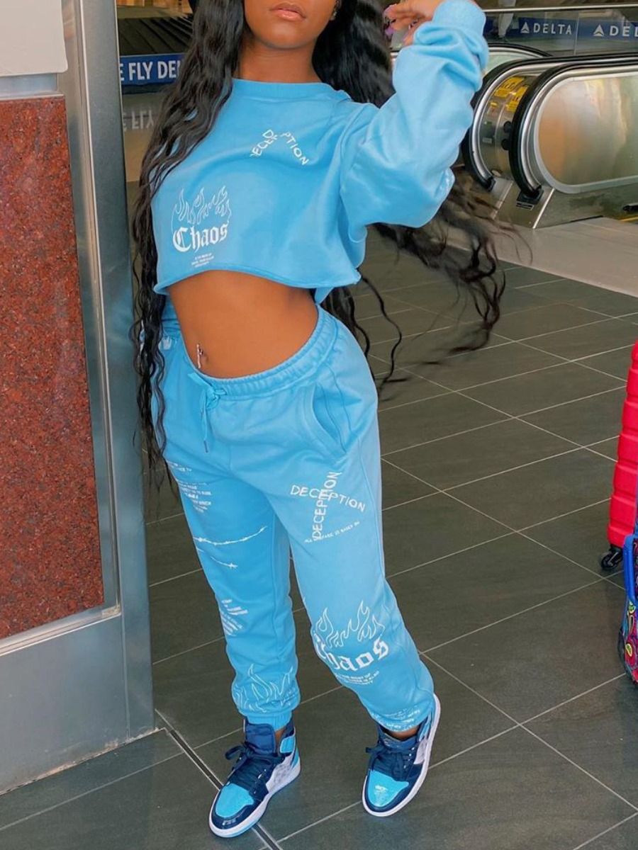 LW lovely Leisure O Neck Print Blue Two Piece Pants Set