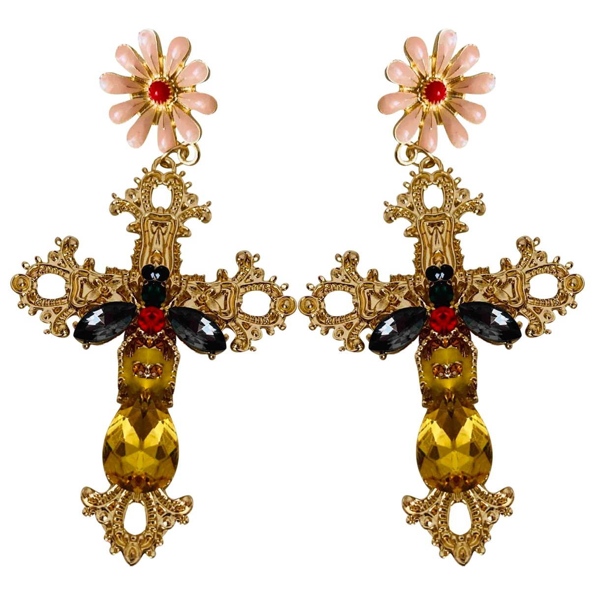 Non Signé / Unsigned Croix Multicolour Metal Earrings for Women \N