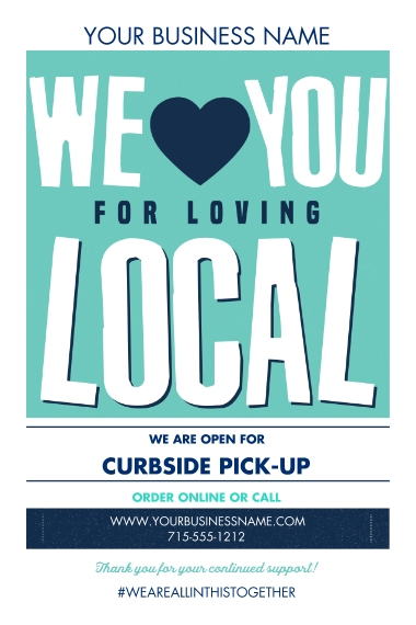 COVID-19 24x36 Adhesive Poster, Home Décor -Local Love