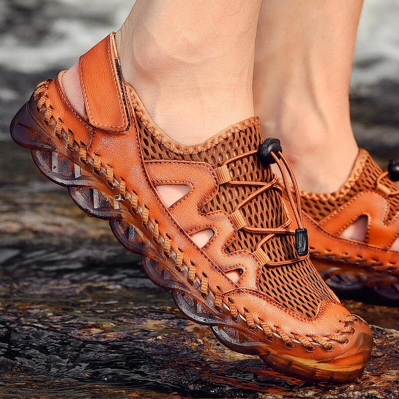Men Rubber Toe Cap Mesh Splicing Slippers Outdoor Water Sandals