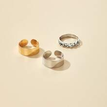 3pcs Metal Flat & Chain Ring