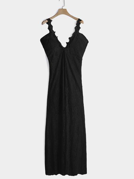 Yoins Black Lace Details V-Neck Sleeveless Maxi Dress