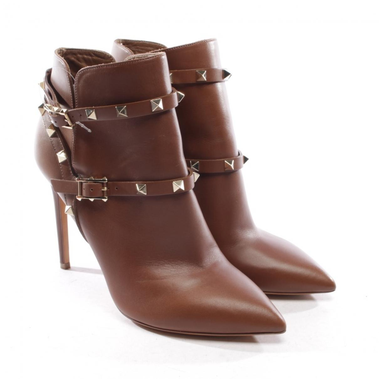 Valentino Garavani Rockstud Brown Leather Ankle boots for Women 40.5 EU