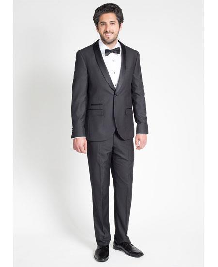 Men's Single Breasted Black Slim Fit Tuxedo with Shawl Lapel