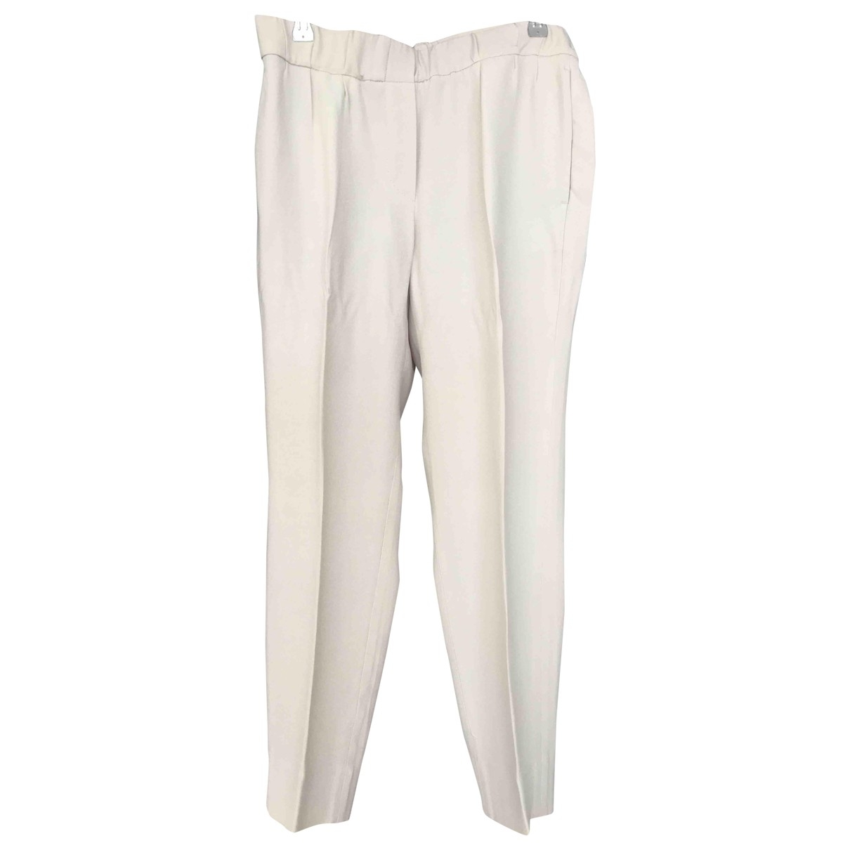 Brunello Cucinelli \N Beige Silk Trousers for Women 42 IT