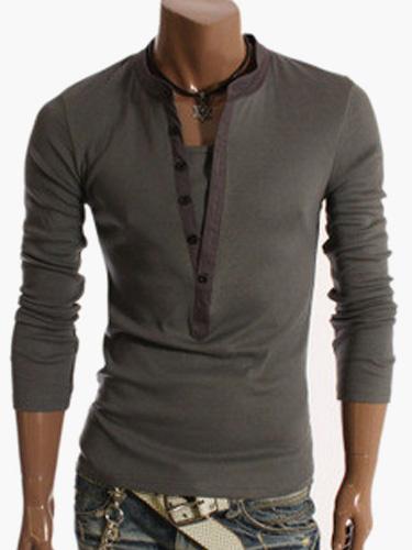 Milanoo Long Sleeve T Shirt V Neck Spring Top Button Up Men Casual T Shirt