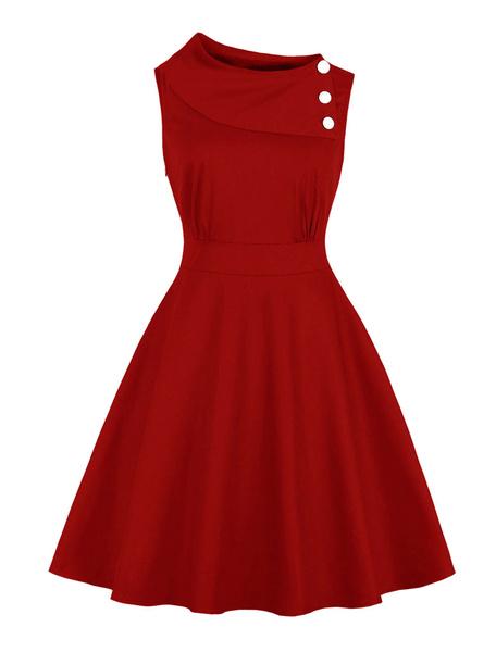 Milanoo Women Vintage Dress Sleeveless 1950 Red Asymmetrical Buttons Pleated rockabilly dresses Swing Retro Dress