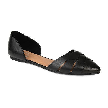 Journee Collection Womens Brandee Slip-on Pointed Toe Ballet Flats, 12 Medium, Black