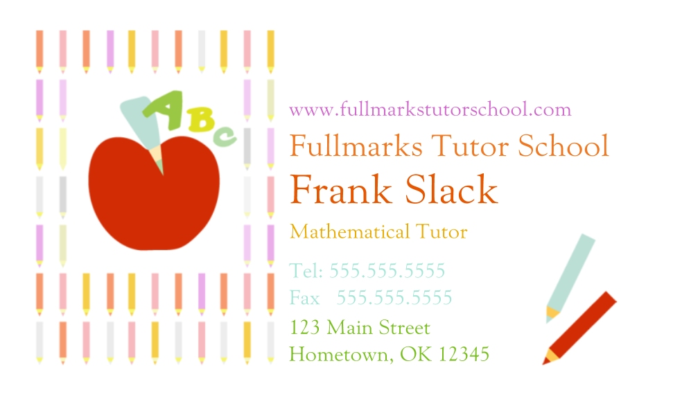 Modern Business Cards, Set of 40, Silk, Card & Stationery -Colorful Tutor (3.5x2)