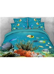 Fish and Coral Underwater Soft Warm Duvet Cover Set 4-Piece 3D Animal Bedding Set