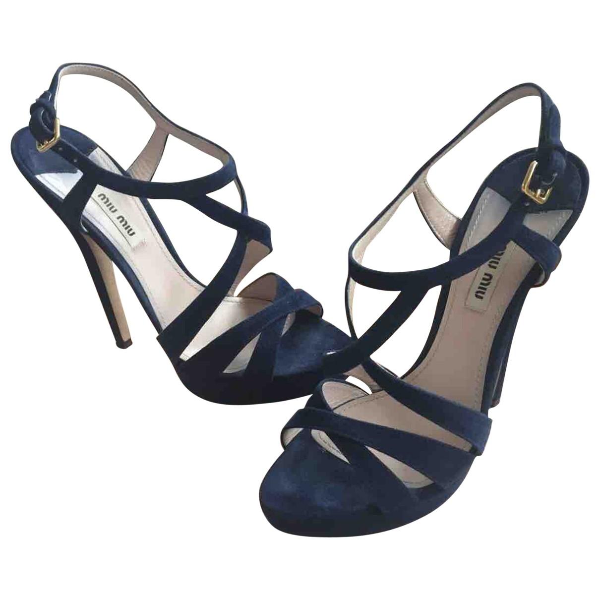 Miu Miu \N Blue Suede Sandals for Women 38.5 EU