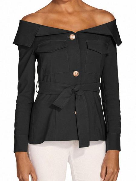 Milanoo Women Bardot Tops off The Shoulder Buttons Long Sleeves Sexy Tops