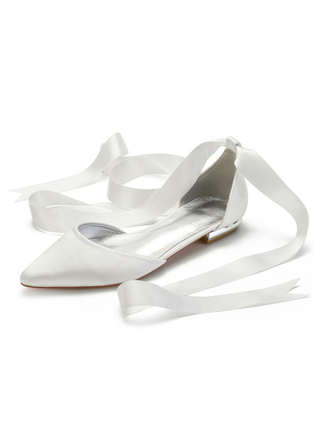 Milanoo Ivory Wedding Shoes Satin Pointed Toe Lace Up Flat Bridal Shoes Bridesmaid Shoes