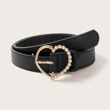 Faux Pearl Heart Buckle Belt