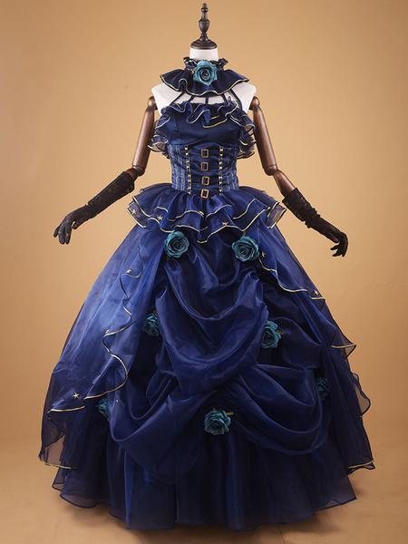 Milanoo Dark Navy Retro Costume Vintage Ruffle Beaded Ball Gown Dress Costume Halloween