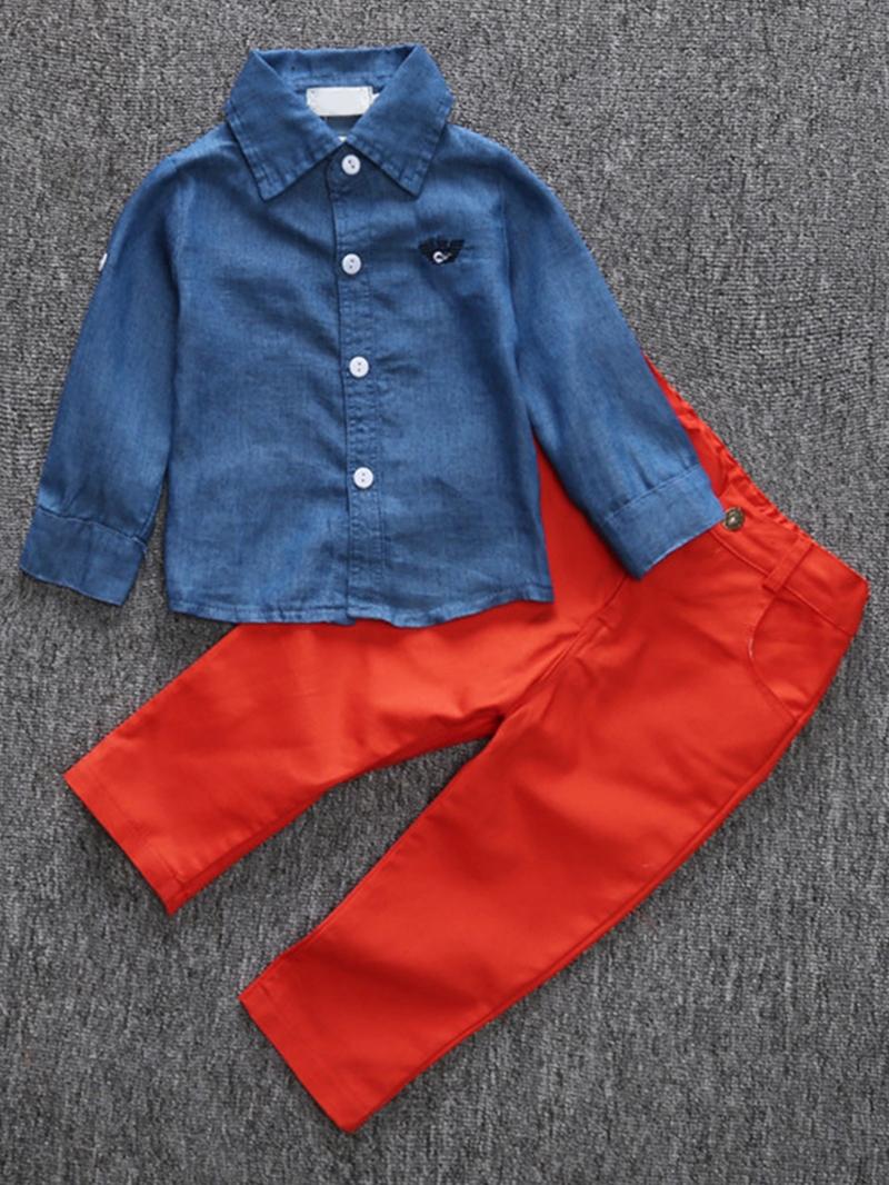 Ericdress Denim Lapel Collar Color Block Two- Piece Boys Outfits