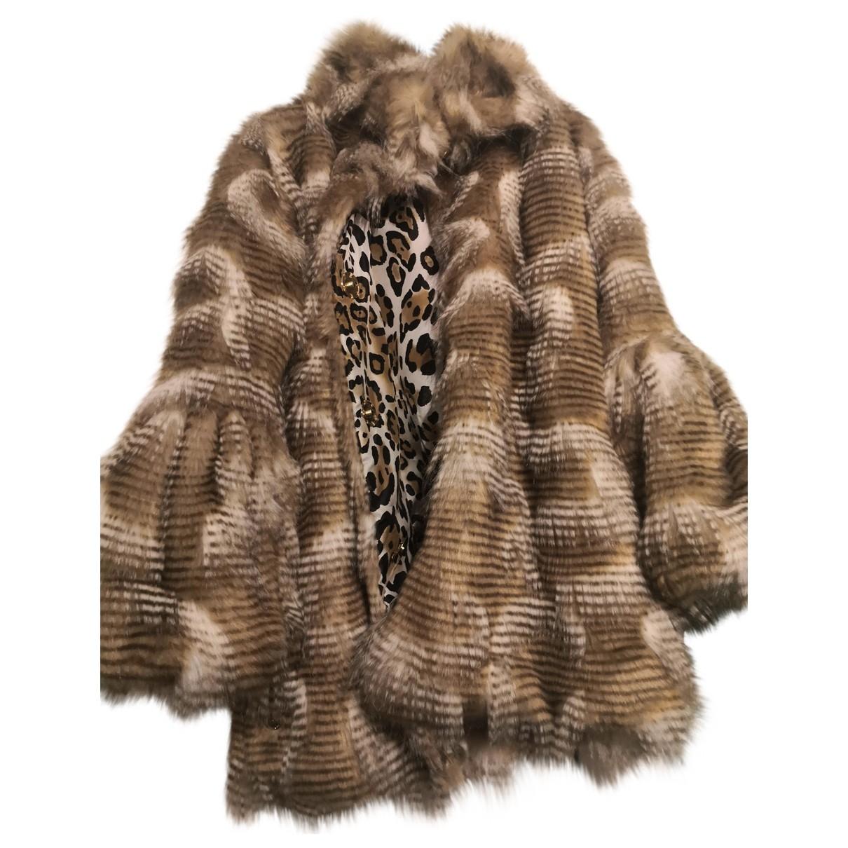 Non Signé / Unsigned Hippie Chic Camel Faux fur coat for Women S International