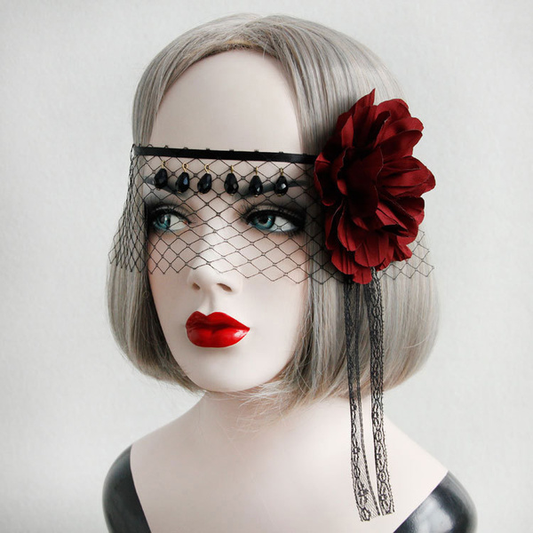Milanoo Gothic Lolita Headdress Flower Net Lace Jewel Bead Black Lolita Veil