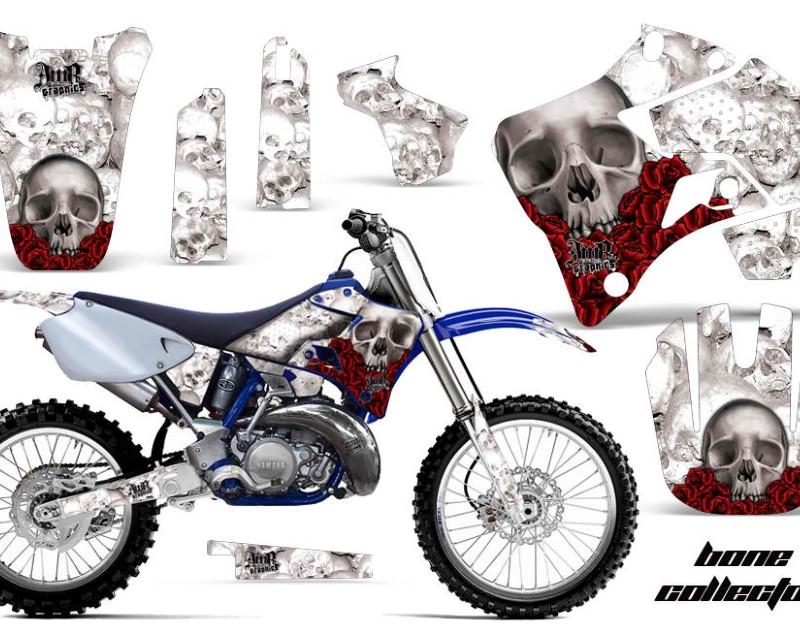 AMR Racing Dirt Bike Graphics Kit Decal Sticker Wrap For Yamaha YZ125 YZ250 1996-2001áBONES WHITE
