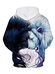 Fashion Long Sleeve Front Pocket Lion Pattern 3D Painted Hoodie